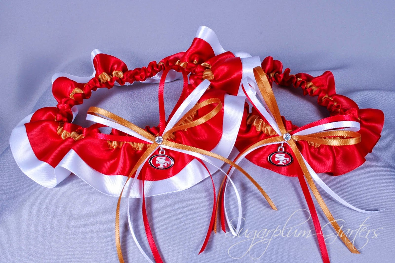 Custom San Francisco 49ers Wedding Garter Set by Sugarplum Garters