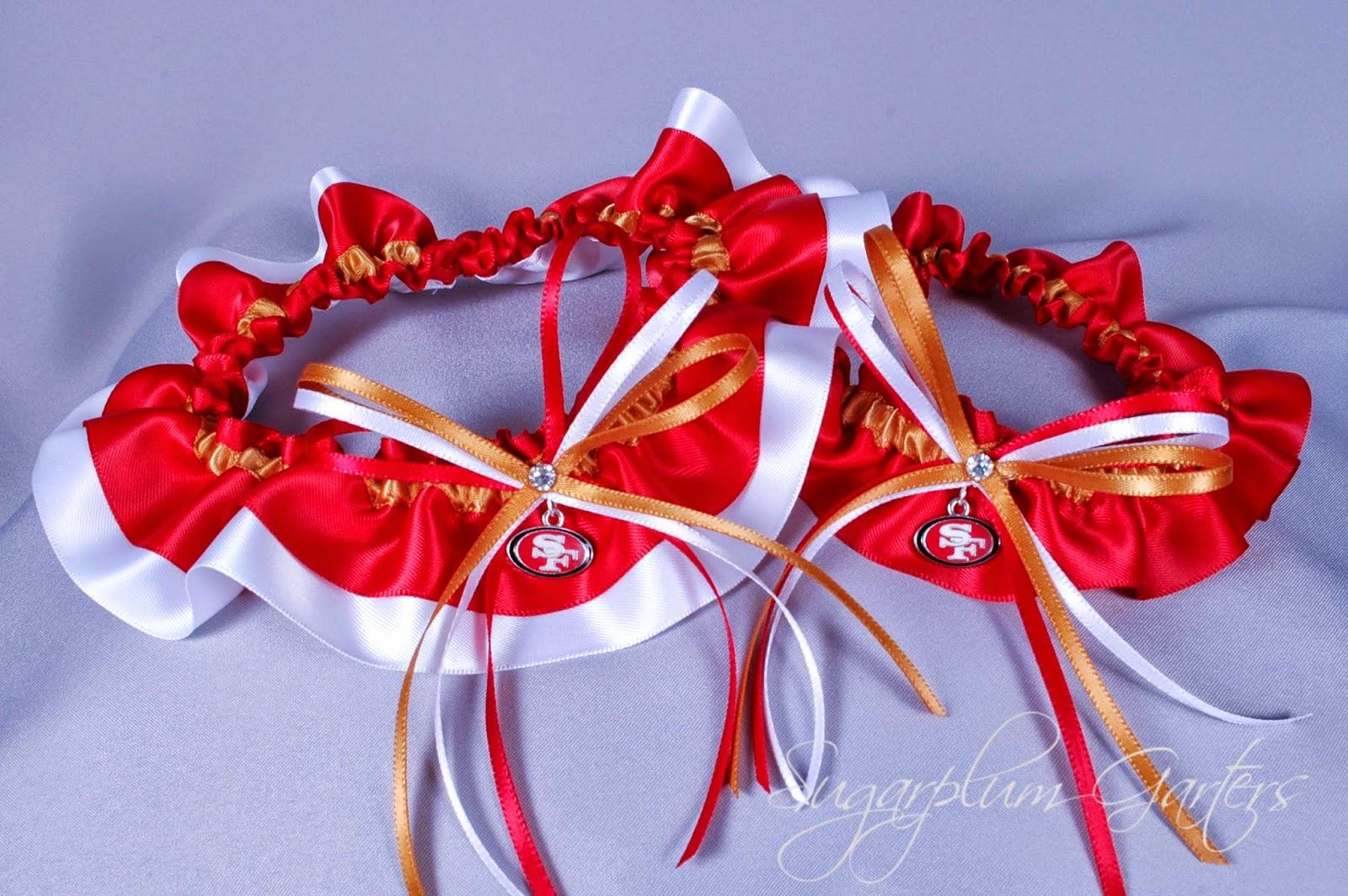 Custom San Francisco 49ers Wedding Garter Set by Sugarplum Garters