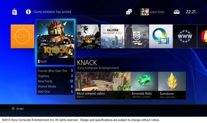 La interfaz de usuario de la consola Play Station 4, Sony la muestra