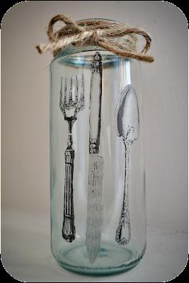 DIY Tinted Glass Jar + Mod Podge Image Transfer