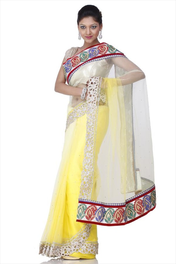 LEMON NET SAREE