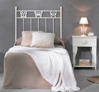 cabecero forja mariposas, cabecero juvenil, cabezal cama forja, dormitorio forja