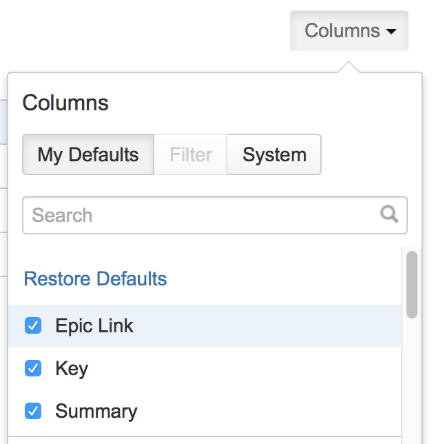 JIRA Exporting - Select Columns