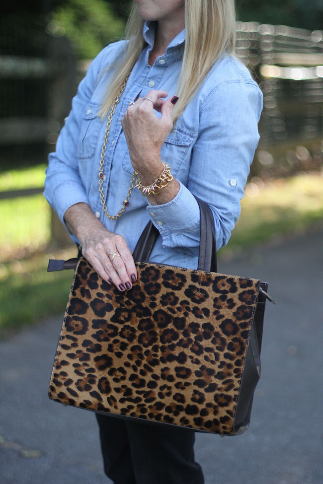chambray shirt, julie vos necklace, flare jeans, leopard bag