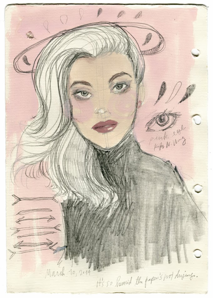 Kitty N. Wong / sketchbook portrait of woman in gouache with pencil and pink background
