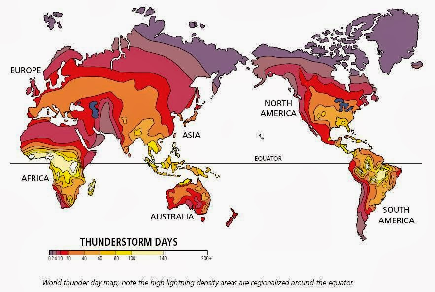 Estimated number of days with thunderstroms per year