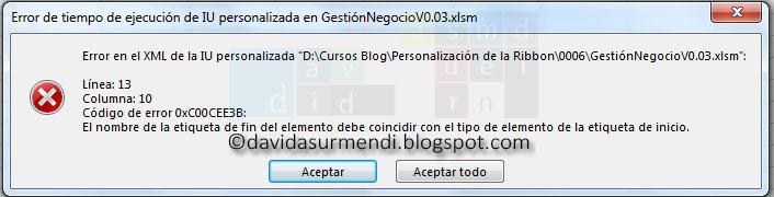 Error porque no coinciden las etiquetas de apertura y cierre detectado en Excel