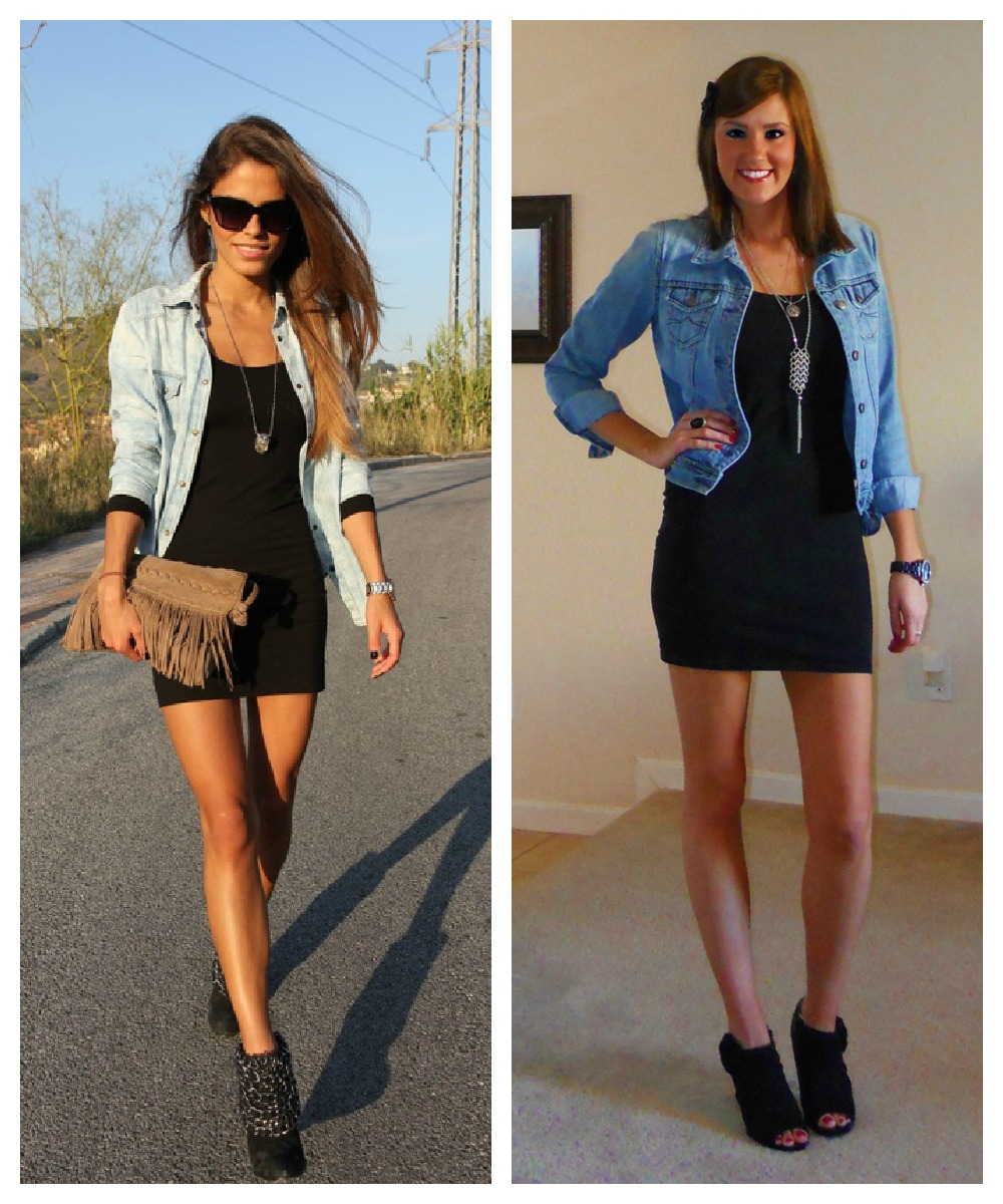 Black dress jean jacket - Dress And Denim Jacket Pinterest