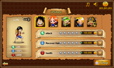 menu upgrade di game One Piece