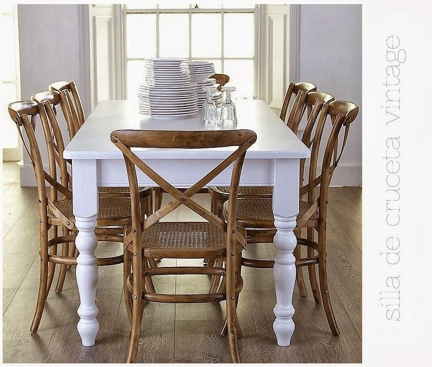 La caja de pandora decoracion silla cruceta comedores for Silla blanca patas madera