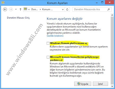 Windows 8 Konum Ayarları