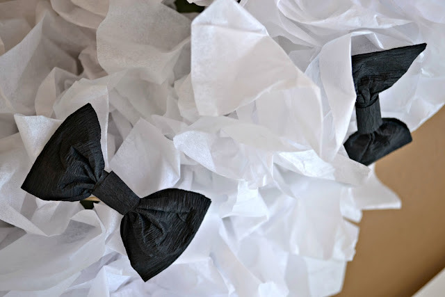 DIY Tissue Paper Topiary, Black and white tissue paper decor, Black and White topiary, Bow Tie topiary, Tissue paper wedding decor