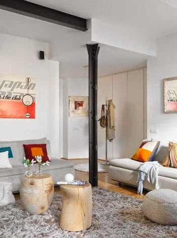 apartamento decorado con suaves colores tierra