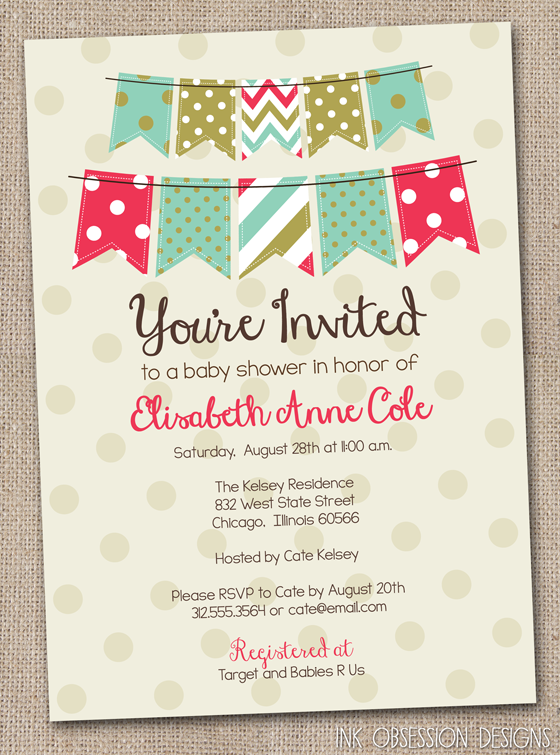 Recently New To The Website Are Bunting U0026 Polka Dotted Invitations In  Blue/red/gold, Pink/red/gold And Blue/orange/yellow For Bridal U0026 Baby  Showers And ...