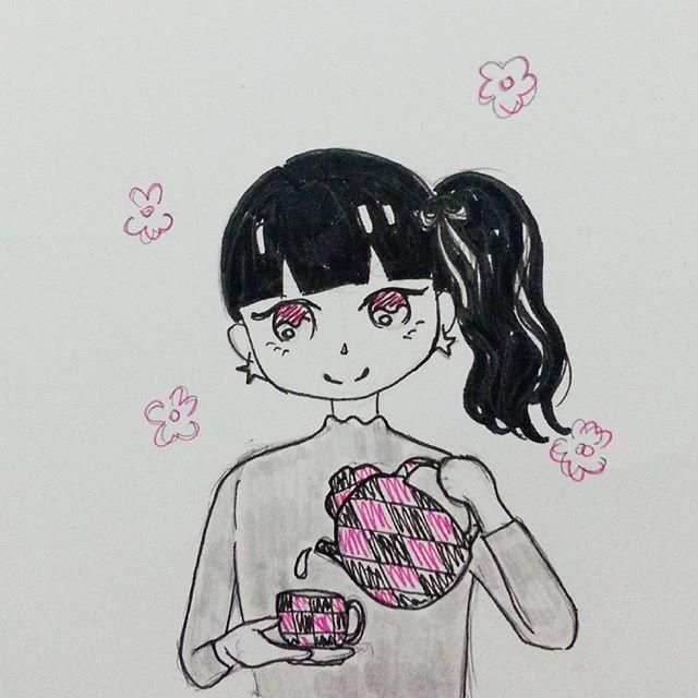 inktober 2015 tea girl