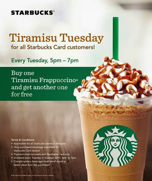 Starbucks Buy 1 Free 1 staring 11 October 2014 for 1 month period by using Starbucks Card