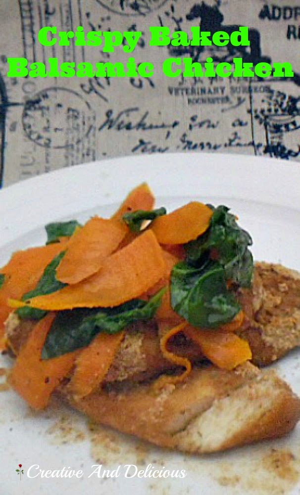 Crispy Baked Balsamic Chicken ~ With a delicious Basil Carrot topping #ChickenRecipe #QuickandEasyRecipe #ChickenDinner