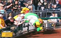 Pirates mascot falls over railing