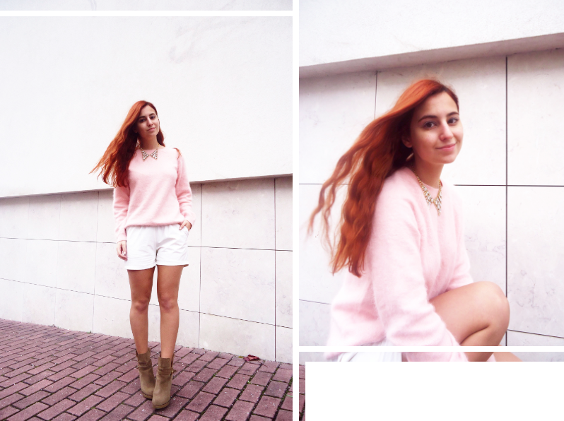 pink angora sweater from H&M and cream leather shorts from Romwe