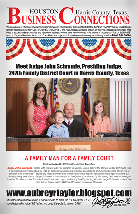 MEET JUDGE JOHN SCHMUDE, PRESIDING JUDGE FOR THE 247TH FAMILY DISTRICT COURT