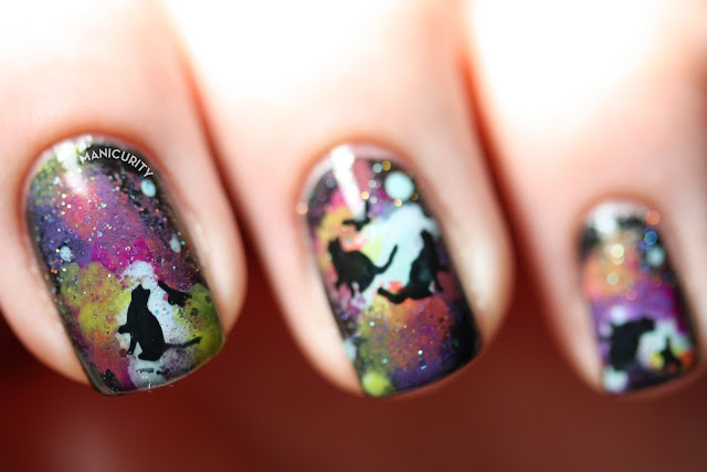 The Digit-al Dozen: Cats in SPACE Nails! Feline stamping nail art over galaxy nails | Manicurity.com