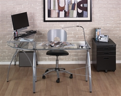 Corner Office Desk with Glass Top