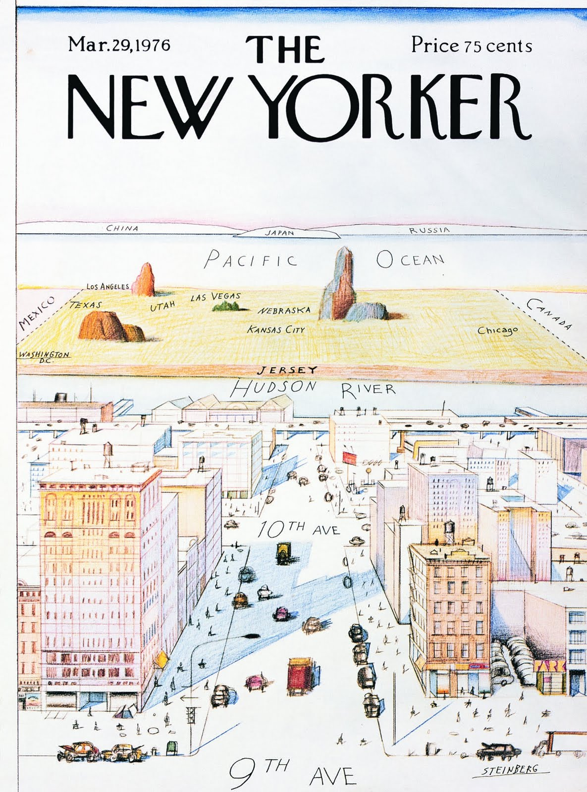 this is the famous new yorker magazine cover by steinberg from 1976 showing a new yorker s view of the world this cover has been parodied extensively