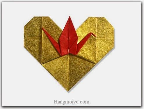 Cách gấp, xếp con hạc đậu trên trái tim bằng giấy origami - Video hướng dẫn xếp hình trái tim quà tặng - How to fold a Heart Crane