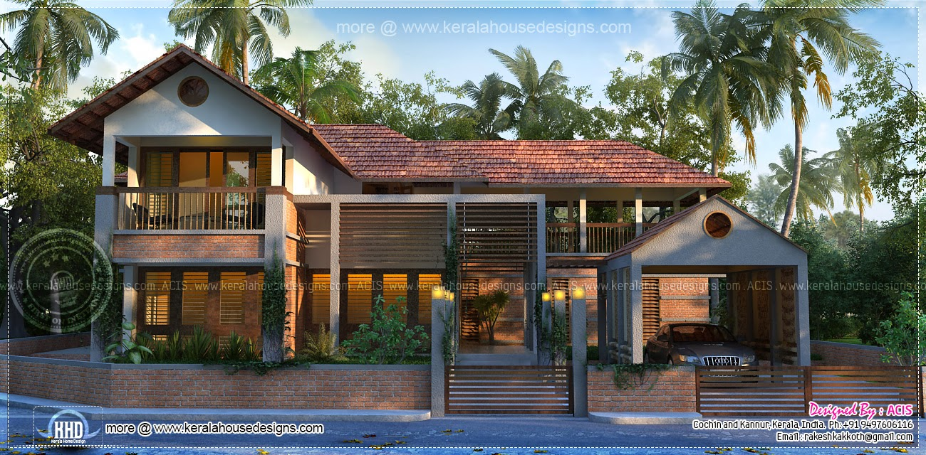 Kerala model contemporary house elevation kerala home for Contemporary model homes
