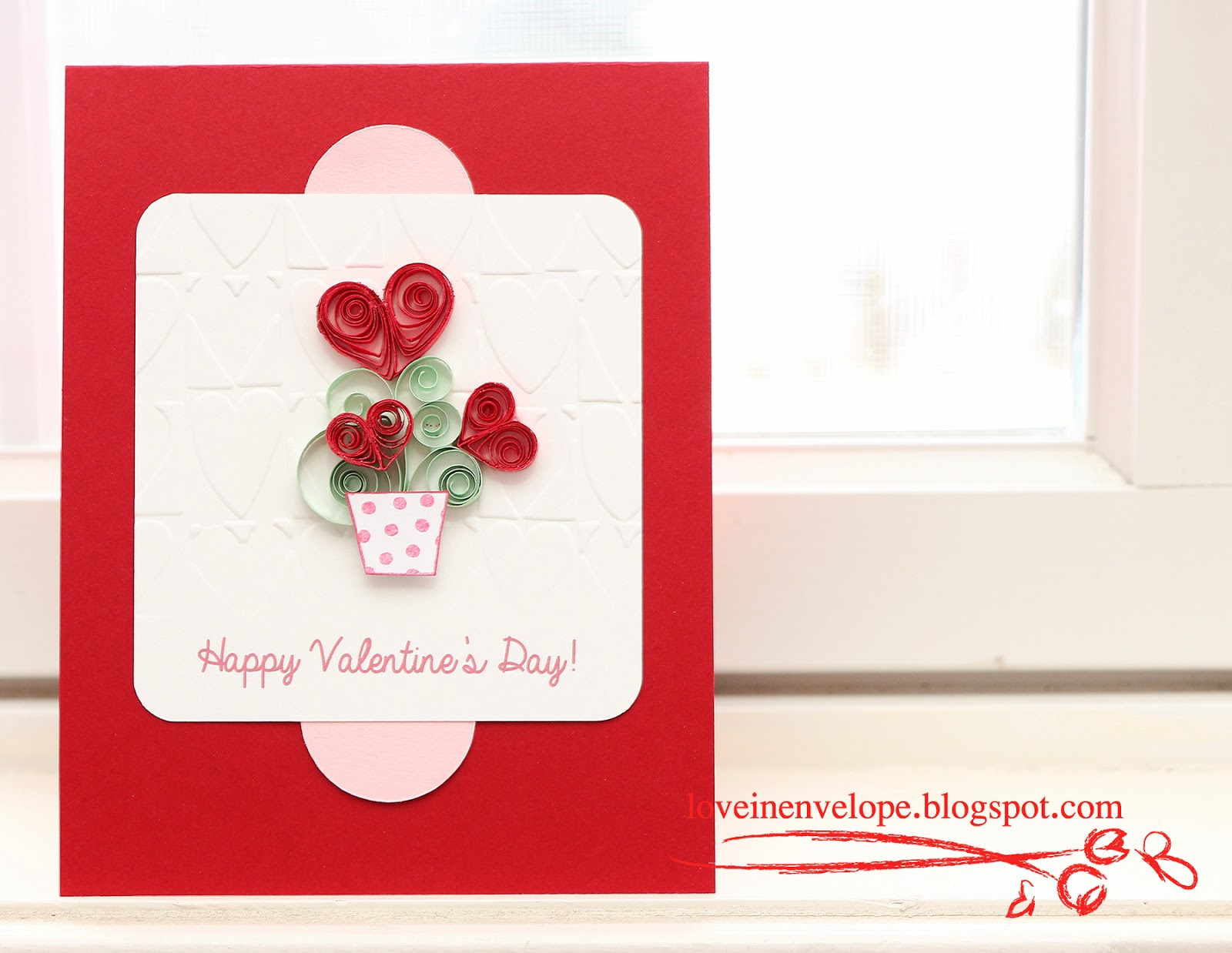 Love in Envelope: Valentine\'s Hearts in a Vase Quilled Card