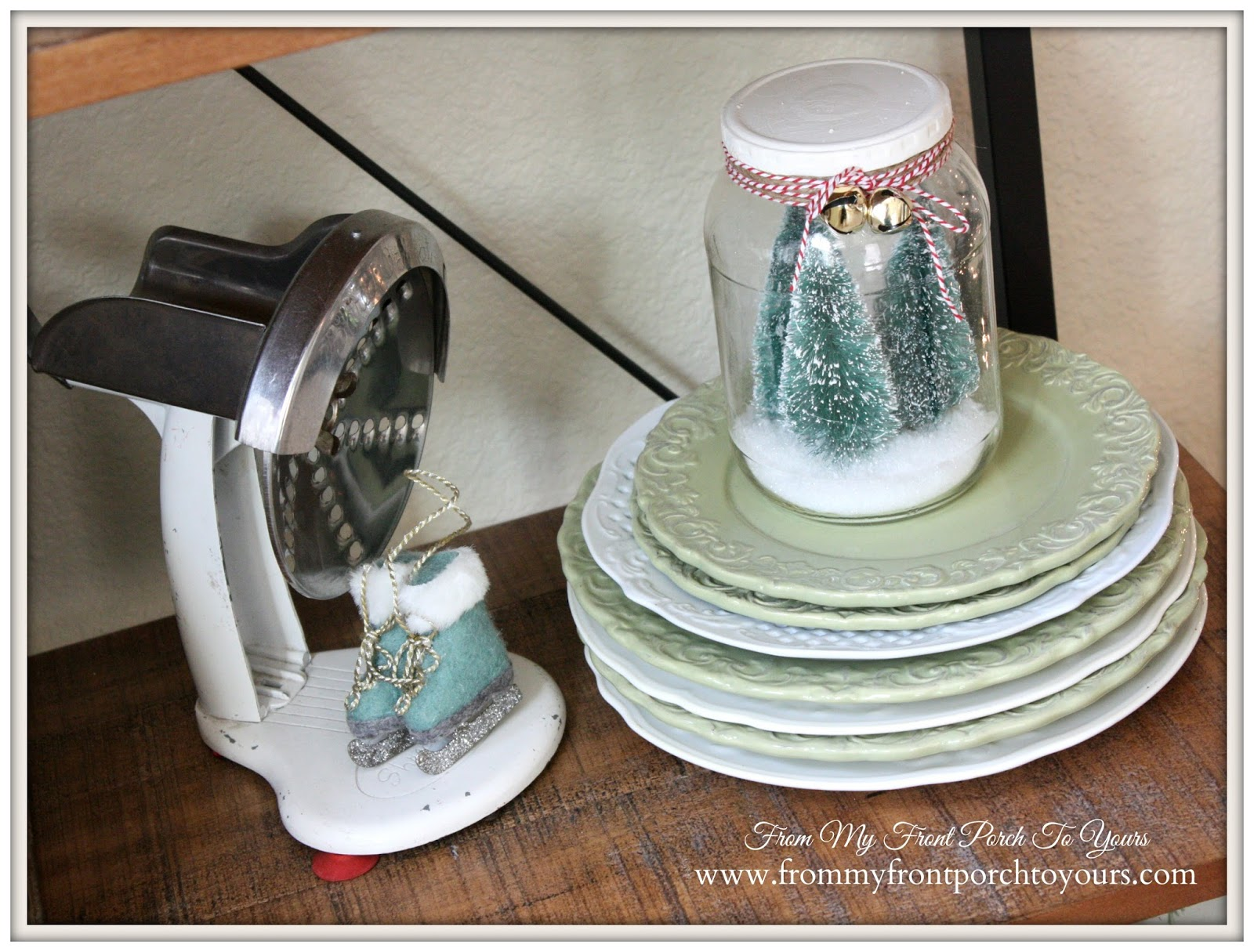 Christmas Vignette- French Farmhouse Christmas Kitchen- From My Front Porch To Yours