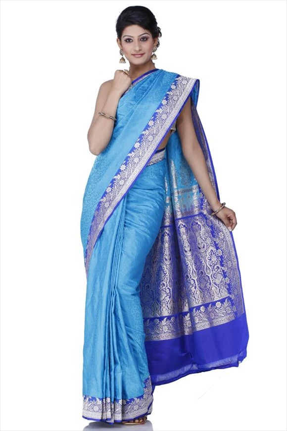 Cyan Blue Kattan Silk Banarasi Saree
