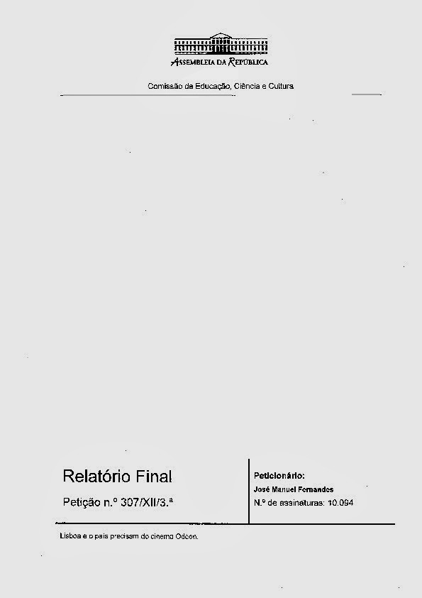 Relatório da 8ª Comissão de Cultura da AR sobre a petição em prol do Odéon: