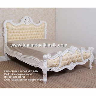 Supplier classic furniture french bed white painted mahogany from Jepara