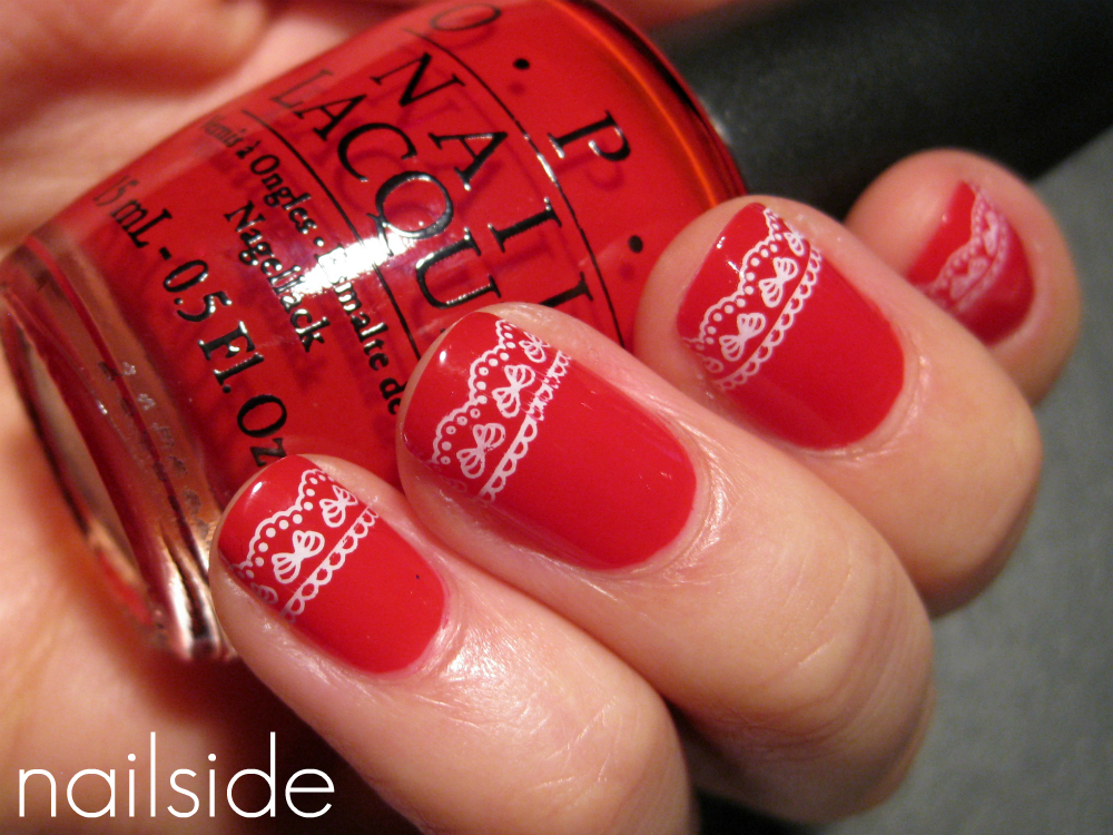 Nail art design christmas nails with lace nail art design prinsesfo Gallery