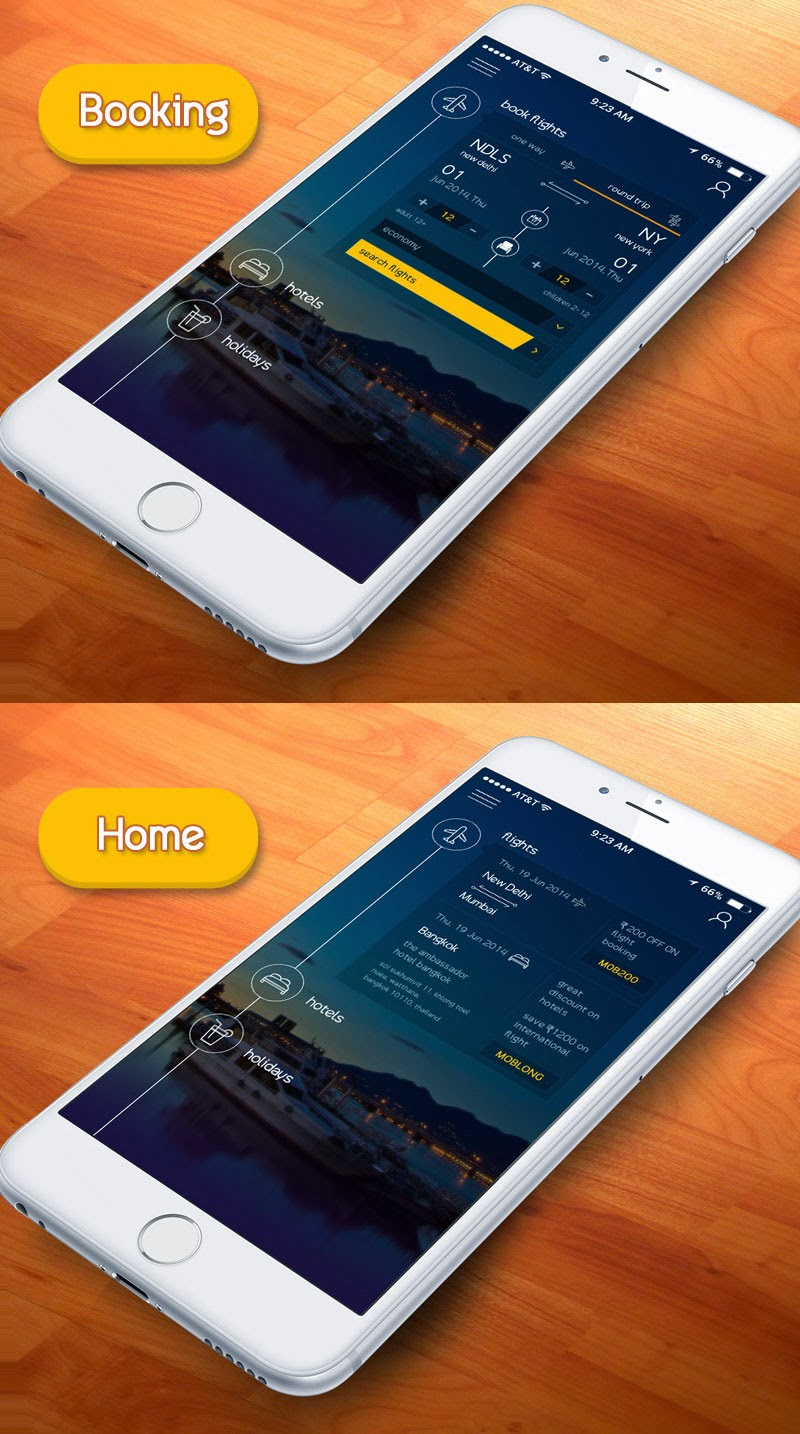 Flat Booking App UI Design PSD