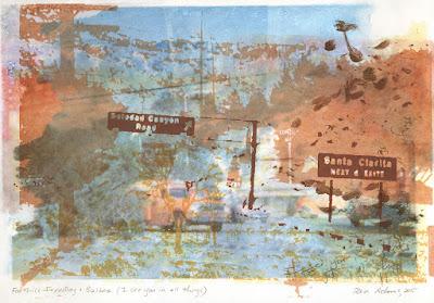 Ren Adams mixed media printmaking California