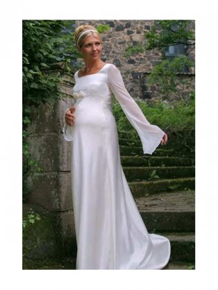 White stretch lace maternity bridal gowns with a silky white liner are a
