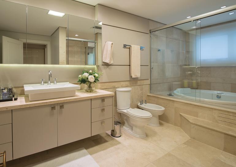 Construindo Minha Casa Clean 20 Banheiros com Bancadas Bege  Veja Dicas e I -> Banheiros Modernos Claros