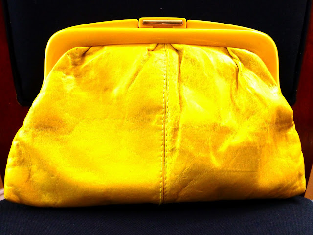 thrift haul vintage yellow leather clutch purse