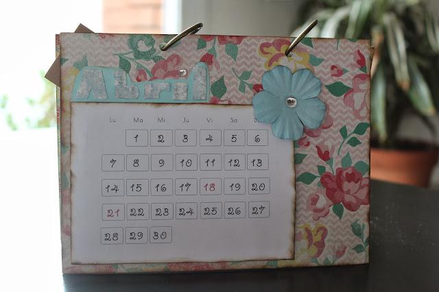 Calendario scrapbooking abril