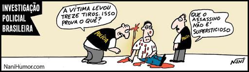 Tiras: Investigação policial brasileira. assassino