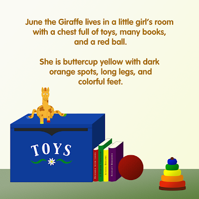 June the Giraffe on a toy box