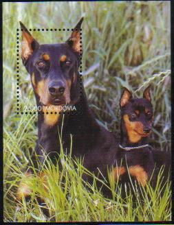 2001年モルドバ共和国 ドーベルマン親子の切手シート