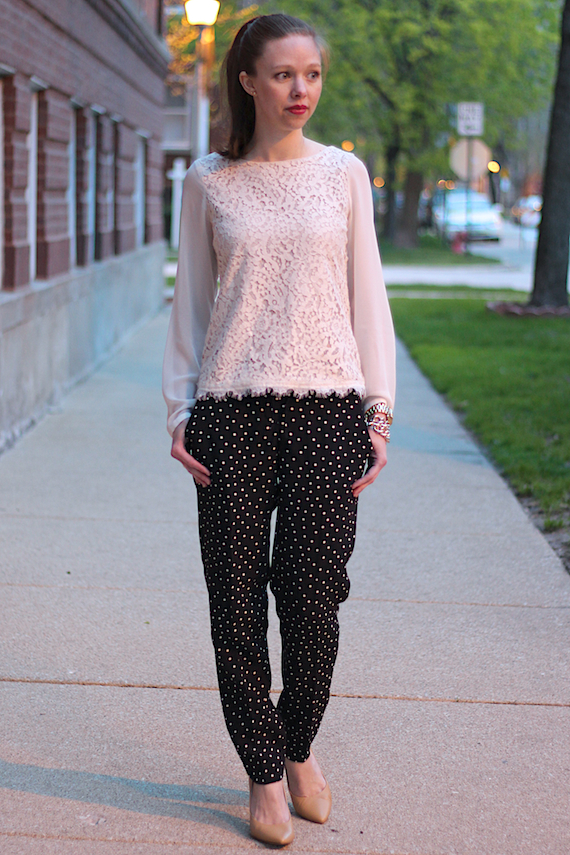 Polka Dot Relaxed Pants, Scalloped Lace Blouse | StyleSidebar
