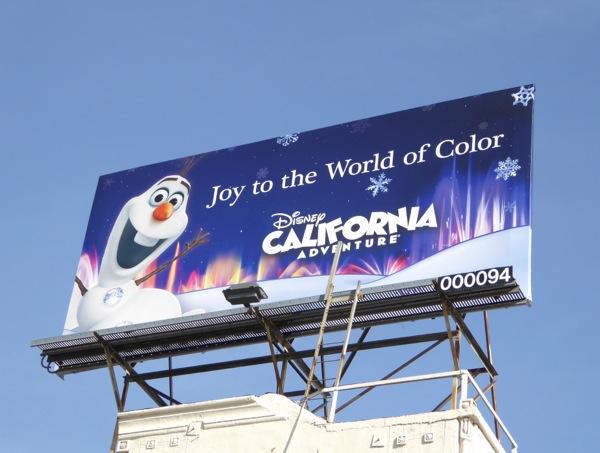 Frozen Olaf Snowman Disneyland festive billboard