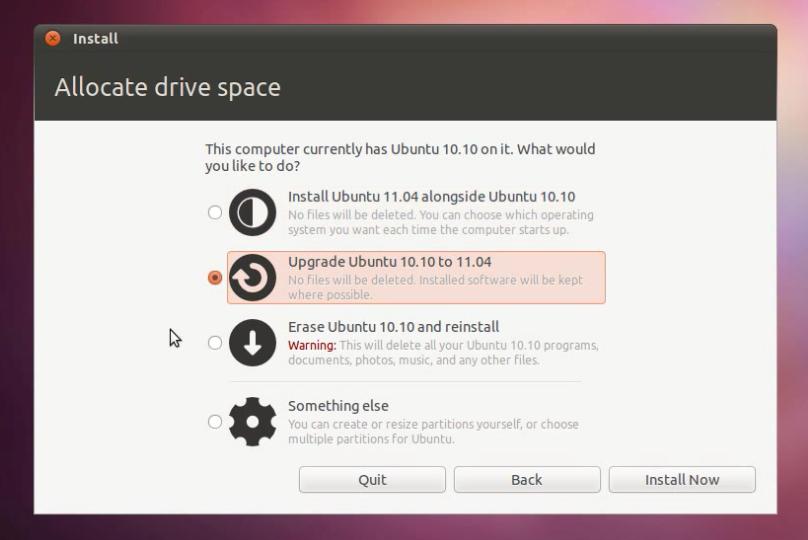 Pilihan menu ketika booting lewat CD installer