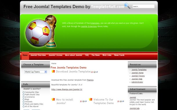 Free Joomla 1.5 Green Soccer Football Theme Template