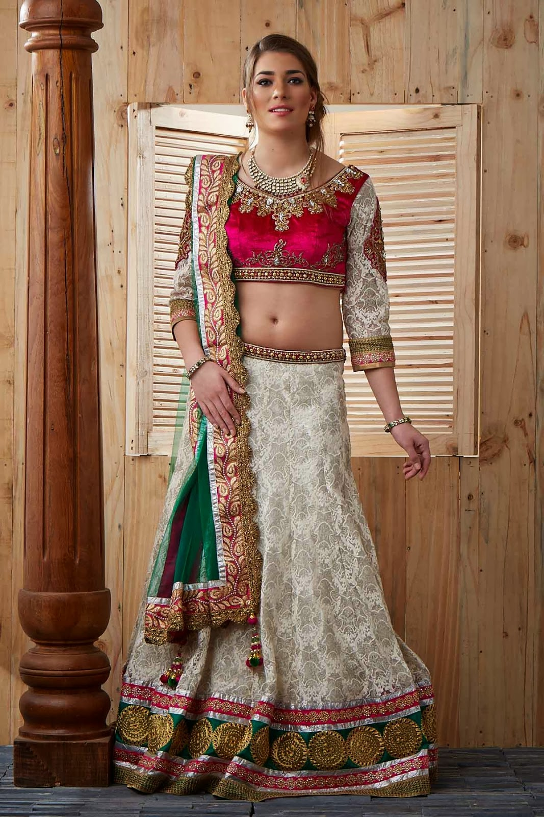 Multi-Colour Net Lehenga with Paisley Pattern