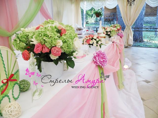 Свадьба в зелено розовом цвете фото